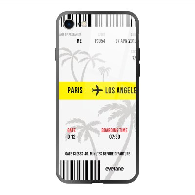 Coque en verre trempé iPhone 7/8/ iPhone SE 2020 Blllet Paris-Los Angeles Ecriture Tendance et Design Evetane.
