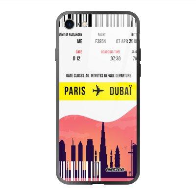 Coque en verre trempé iPhone 7/8/ iPhone SE 2020 Blllet Paris-Dubaî Ecriture Tendance et Design Evetane.