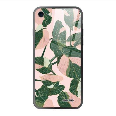 Coque en verre trempé iPhone 7/8/ iPhone SE 2020 Feuilles vertes et roses Ecriture Tendance et Design Evetane.