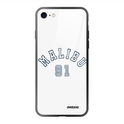 Coque en verre trempé iPhone 7/8/ iPhone SE 2020 Malibu 91 Ecriture Tendance et Design Evetane.