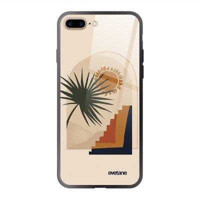 Coque en verre trempé iPhone 7 Plus / 8 Plus Palmier et Soleil beige Ecriture Tendance et Design Evetane.