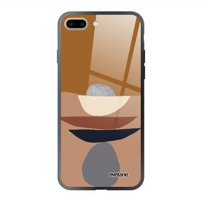 Coque en verre trempé iPhone 7 Plus / 8 Plus Déco de pierres Ecriture Tendance et Design Evetane.