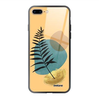 Coque en verre trempé iPhone 7 Plus / 8 Plus Feuille noir et pierre bleue Ecriture Tendance et Design Evetane.