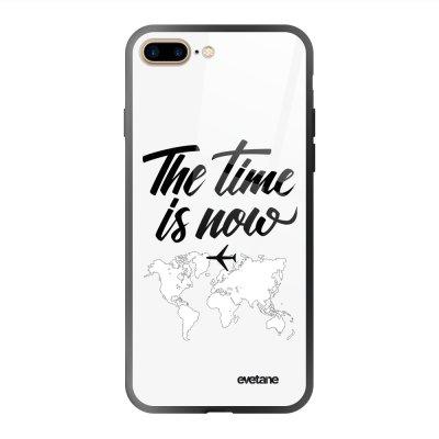 Coque en verre trempé iPhone 7 Plus / 8 Plus The time is Now Ecriture Tendance et Design Evetane.