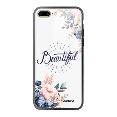 Coque en verre trempé iPhone 7 Plus / 8 Plus Beautiful Ecriture Tendance et Design Evetane.