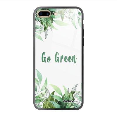 Coque en verre trempé iPhone 7 Plus / 8 Plus Go green Ecriture Tendance et Design Evetane.