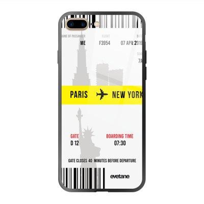 Coque en verre trempé iPhone 7 Plus / 8 Plus Blllet Paris-New York Ecriture Tendance et Design Evetane.