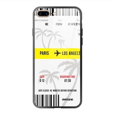 Coque en verre trempé iPhone 7 Plus / 8 Plus Blllet Paris-Los Angeles Ecriture Tendance et Design Evetane.