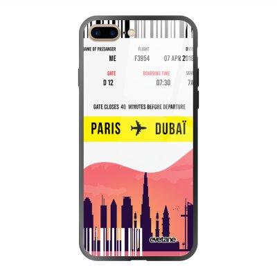 Coque en verre trempé iPhone 7 Plus / 8 Plus Blllet Paris-Dubaî Ecriture Tendance et Design Evetane.