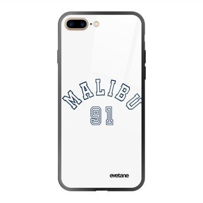 Coque en verre trempé iPhone 7 Plus / 8 Plus Malibu 91 Ecriture Tendance et Design Evetane.