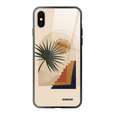Coque en verre trempé iPhone X/Xs Palmier et Soleil beige Ecriture Tendance et Design Evetane.