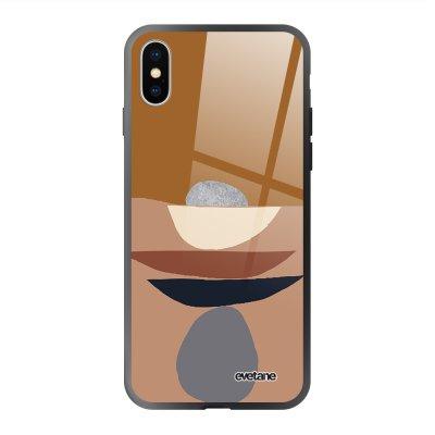 Coque en verre trempé iPhone X/Xs Déco de pierres Ecriture Tendance et Design Evetane.
