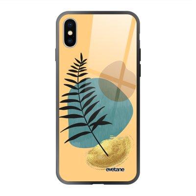 Coque en verre trempé iPhone X/Xs Feuille noir et pierre bleue Ecriture Tendance et Design Evetane.