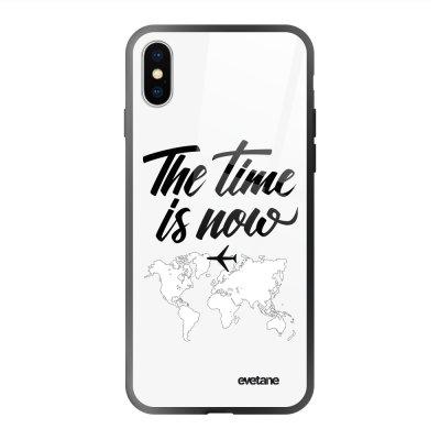 Coque en verre trempé iPhone X/Xs The time is Now Ecriture Tendance et Design Evetane.