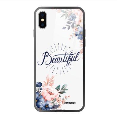 Coque en verre trempé iPhone X/Xs Beautiful Ecriture Tendance et Design Evetane.