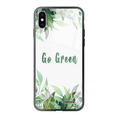 Coque en verre trempé iPhone X/Xs Go green Ecriture Tendance et Design Evetane.