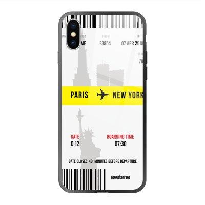 Coque en verre trempé iPhone X/Xs Blllet Paris-New York Ecriture Tendance et Design Evetane.