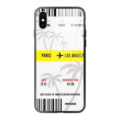 Coque en verre trempé iPhone X/Xs Blllet Paris-Los Angeles Ecriture Tendance et Design Evetane.