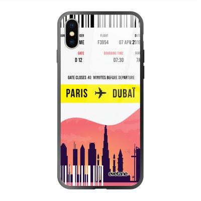 Coque en verre trempé iPhone X/Xs Blllet Paris-Dubaî Ecriture Tendance et Design Evetane.