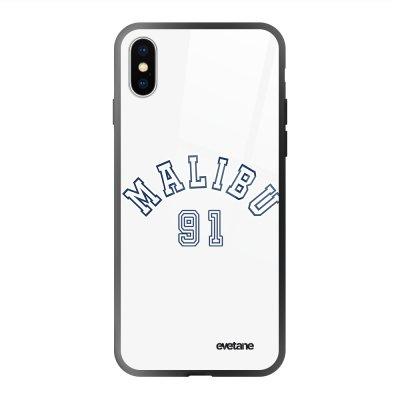 Coque en verre trempé iPhone X/Xs Malibu 91 Ecriture Tendance et Design Evetane.