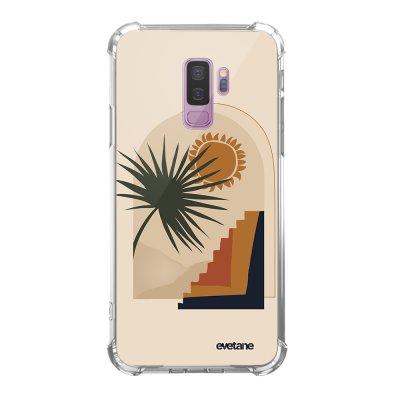 Coque Samsung Galaxy S9 Plus anti-choc souple angles renforcés transparente Palmier et Soleil beige Evetane.