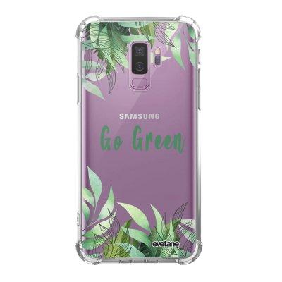 Coque Samsung Galaxy S9 Plus anti-choc souple angles renforcés transparente Go green Evetane.
