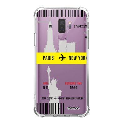 Coque Samsung Galaxy S9 Plus anti-choc souple angles renforcés transparente Blllet Paris-New York Evetane.
