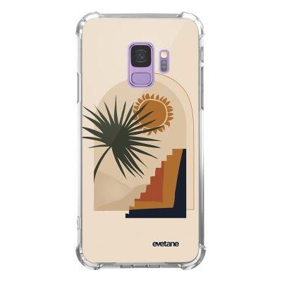 Coque Samsung Galaxy S9 anti-choc souple angles renforcés transparente Palmier et Soleil beige Evetane.