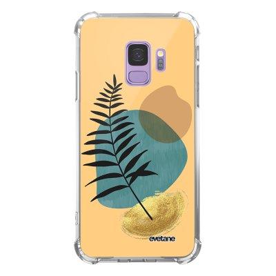 Coque Samsung Galaxy S9 anti-choc souple angles renforcés transparente Feuille noir et pierre bleue Evetane.