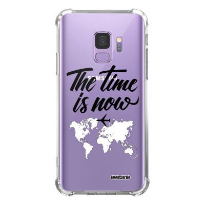 Coque Samsung Galaxy S9 anti-choc souple angles renforcés transparente The time is Now Evetane.