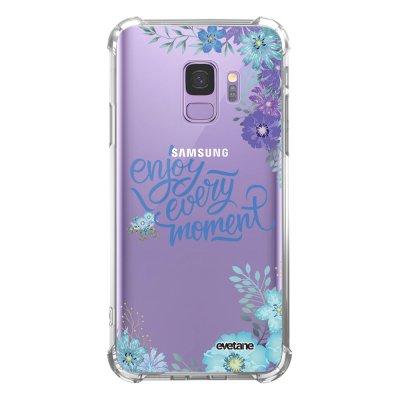 Coque Samsung Galaxy S9 anti-choc souple angles renforcés transparente Enjoy every moment Evetane.