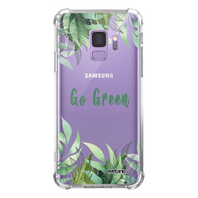 Coque Samsung Galaxy S9 anti-choc souple angles renforcés transparente Go green Evetane.