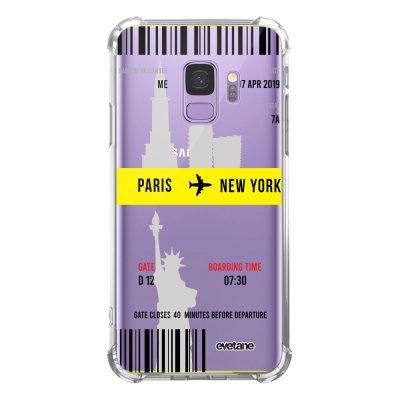 Coque Samsung Galaxy S9 anti-choc souple angles renforcés transparente Blllet Paris-New York Evetane.