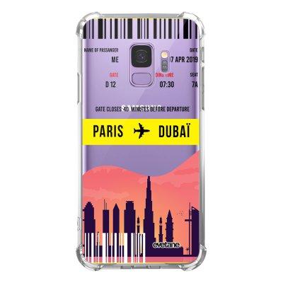 Coque Samsung Galaxy S9 anti-choc souple angles renforcés transparente Blllet Paris-Dubaî Evetane.