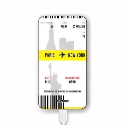 Batterie verre trempé 8000mAh Blllet Paris-New York Motif Ecriture Tendance Evetane
