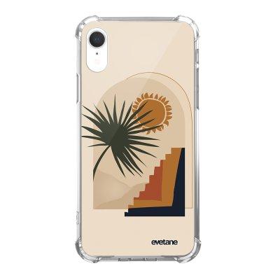 Coque iPhone Xr anti-choc souple angles renforcés Palmier et Soleil beige Evetane.