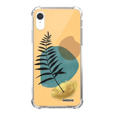 Coque iPhone Xr anti-choc souple angles renforcés Feuille noir et pierre bleue Evetane.