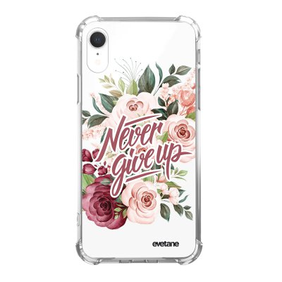 Coque iPhone Xr anti-choc souple angles renforcés Never give up Evetane.
