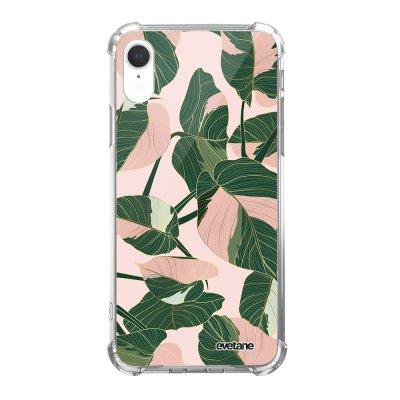 Coque iPhone Xr anti-choc souple angles renforcés Feuilles vertes et roses Evetane.