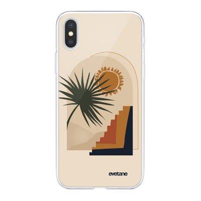 Coque iPhone X/Xs 360 intégrale Palmier et Soleil beige Tendance Evetane