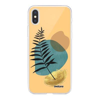 Coque iPhone X/Xs 360 intégrale Feuille noir et pierre bleue Tendance Evetane