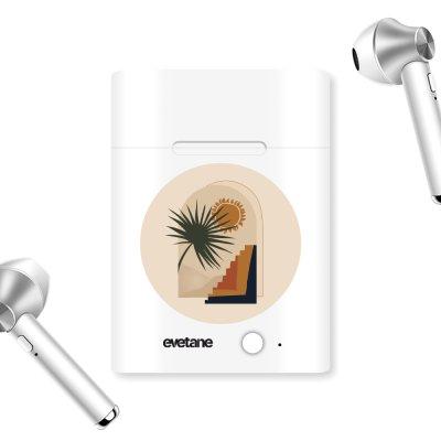 Ecouteurs Sans Fil Bluetooth Argent argent Palmier et Soleil beige Ecriture Tendance et Design Evetane.