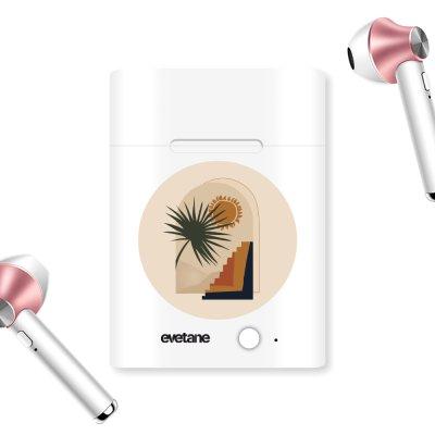 Ecouteurs Sans Fil Bluetooth Rose Gold rose gold Palmier et Soleil beige Ecriture Tendance et Design Evetane.