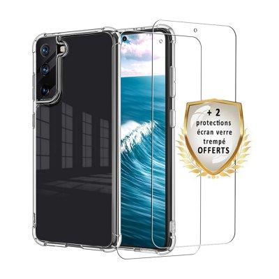 Coque Samsung Galaxy S21 5G Antichoc Silicone + 2 Vitres en verre trempé Protection écran
