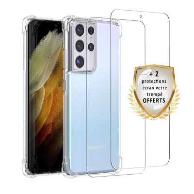 Coque Samsung Galaxy S21 Ultra 5G Antichoc Silicone + 2 Vitres en verre trempé Protection écran