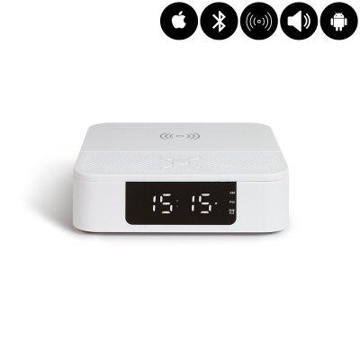 Enceinte Bluetooth réveil et chargeur à induction - Blanc