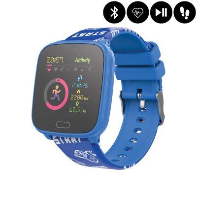 Montre connectée Bluetooth Enfant avec contrôle de la musique,distance parcourue,moniteur fréquence cardiaque - Bleu