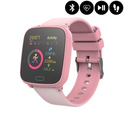 Montre connectée Bluetooth Enfant avec contrôle de la musique,distance parcourue,moniteur fréquence cardiaque - Rose