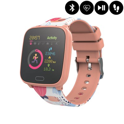Montre connectée Bluetooth Enfant avec contrôle de la musique,distance parcourue,moniteur fréquence cardiaque - Orange