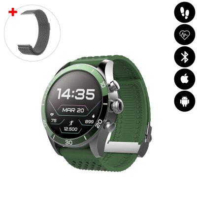 Montre connectée Bluetooth avec podomètre, mesure de fréquence cardiaque, suivi d'activité sportive IP68 verte avc braceletoff